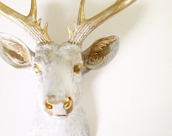 CUSTOM White-Gold rub-brush finish XL Faux Taxidermy Deer Head wall mount wall hanging // unique // faux finish // farmhouse // chic