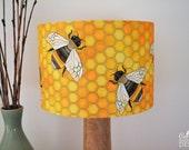 Bee Fabric Lampshade, Illustrated Lamp Shade, Handmade Lighting