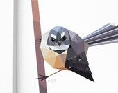 Fantail print, New Zealand birds, New Zealand art, Geometric bird, Kiwiana, Tui print, Kiwi art, New Zealand gift, Kiwi bird art, tinykiwi