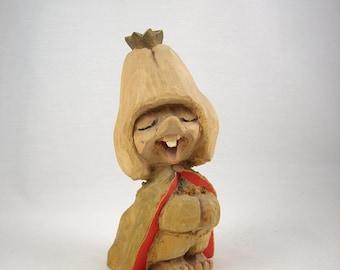 Vintage Henning Troll Hand Carved Wood Folk Art Norway 1960s