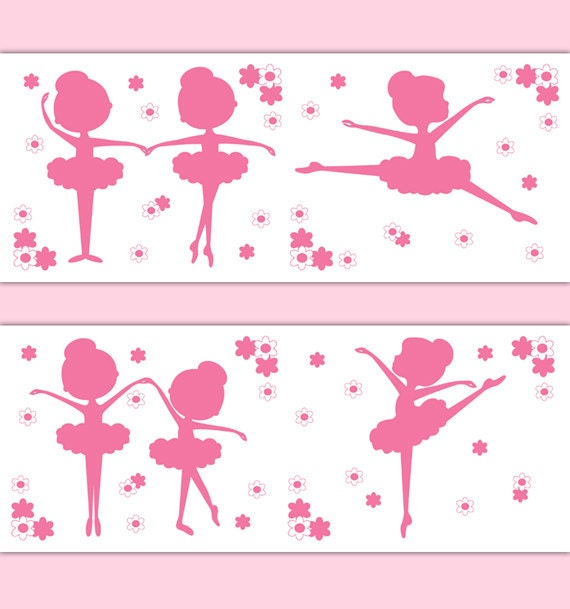 pink ballerina silhouette wallpaper border wall decals girl