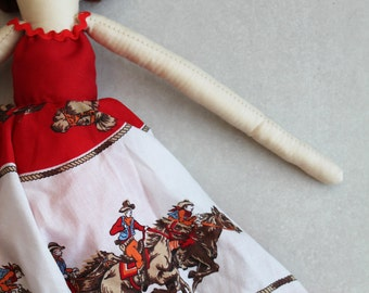 SALE Cadence Cowgirl Ragdoll: Handmade from Vintage and Recycled Materials,Cloth Doll, Western, Country Girl, Cowboy, Farm Girl