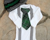 Baby Boy Tie Bodysuit with Suspenders, Tie, and Hat. Preppy, Photo Prop, Fall, Winter.  1st Birthday, Little Man Mustache, Coming Home