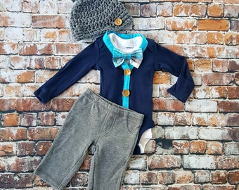 Newborn Baby Boy Coming Home Outfit Set. Cardigan Bodysuit, Bow Tie Bodysuit, Grey Pants & Newsboy Hat. Baby Shower Gift. Gender Reveal