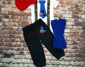 ELMO Inspired Baby Boy Birthday Tie Bodysuit with Suspenders, Pants, Leg Warmers, Newsboy Hat, Birthday, Sesame Street, 1st Birthday, crayon
