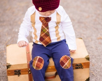NEW Baby Boy Tie and Suspender bodysuit with Hat and Pants, or Bow tie, 3 Piece Set.  Thanksgiving Fall Harvest Plaid.  Fall Photo Prop