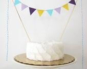 Purple, Aqua, & Yellow Birthday Cake Topper - Fabric Bunting - Wedding, Party, Baby Shower Decor bright summer carnival lavender lemon blue