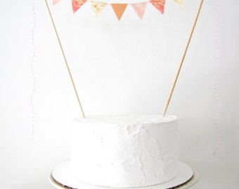 Antique Peach Cake Topper - Fabric Bunting - Autumn Wedding, Birthday Party, Baby Shower Decor blush pink cream apricot orchard floral