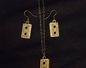 Antiqued bronze Mini cassette tape necklace and earring set