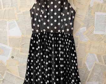 1940's-50s Silk Polkadot Swing Dress
