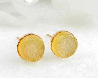druzy earrings, druzy studs, stud earrings, rose gold, crystal, druzy stud earrings, dainty, minimal, druzy