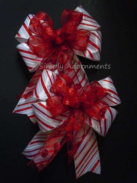 Christmas Christmas Tree Bow Red White Candy Cane Polka Dots Christmas Bow Christmas Lantern Bow Christmas Wreath Garland Bow Gift Bow
