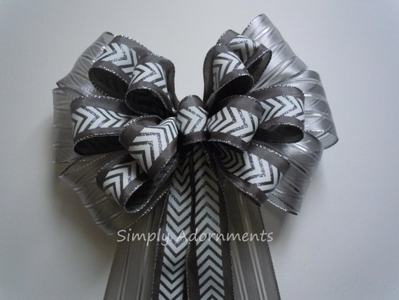 Silver Grey Chevron Wedding Pew Bow Silver Gray Wedding Aisle Bow Silver Christmas Wreath Bow Gray Ceremony Decor Silver Door Hanger Bow