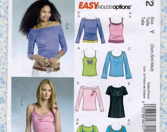 McCall's M4872 Easy Misses & Petite Knit Blouse Tank Top T Shirt Womens Sewing Patterns XS S M Size 4 to 14 Bust 29 to 36 UNCUT