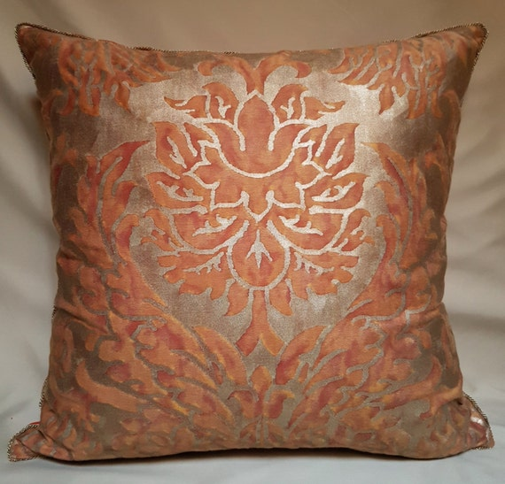 Fortuny fabric throw pillow cover burnt apricot silvery gold - Fabric for throw pillows ...