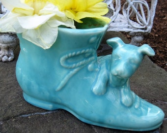 Vintage Shawnee Dog and Shoe Pottery Planter - Vintage 1950's Pug Dog Pottery - Vintage 1950's Aqua Pug Dog and Shoe Planter -