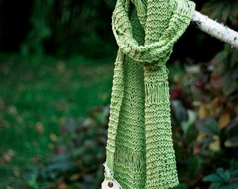 Extra long hand knit green cotton scarf for her