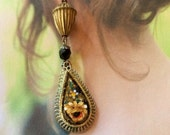 Art Deco Earrings Vintage Victorian Micro Mosaic Rose Acorn Artisan Teardrop