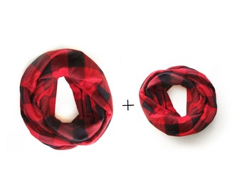 Mommy and Me Infinity Scarf, Buffalo Plaid Toddler Infinity Scarf, Mommy and Me Clothing, Red Plaid Scarf