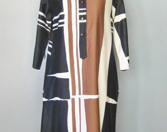 Catherine Oqust Dress / Vtg 70s / Black Brown White Colorblock Cotton Dress / Advant Garde Dress / Tunic Dress /