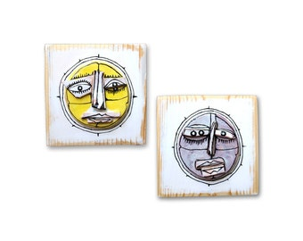 Gift for couple, Ceramic masks, set of 2, ceramic art, yellow ceramic mask, purple ceramic mask, modern ceramic, mini art masks, 99heads