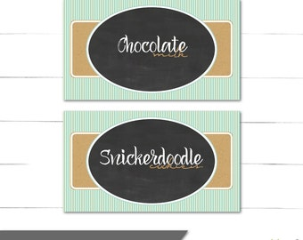 Candy Buffet Labels - Milk and Cookies Collection for Boy Birthday - Food Cards, Dessert Table Labels - Rustic, Vintage - Instant Download