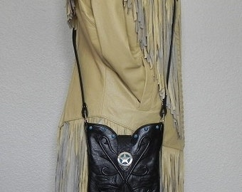 Black Soft Leather Lucchese Cowboy Boot Top Clutch Handbag