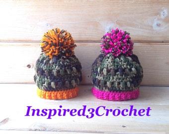 Crochet Baby Hat - Hunter hat - Baby Girl Camo Hat - Baby Boy Camo Hat - Pom Pom Hat - photo prop Newborn / Kids / Adults