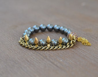 Gold Spike Bracelet - Beaded Stretch Bracelet Stack - Bracelet Stack Set - Gunmetal Bead Bracelet - Arm Candy Bracelets - Charm Bracelet