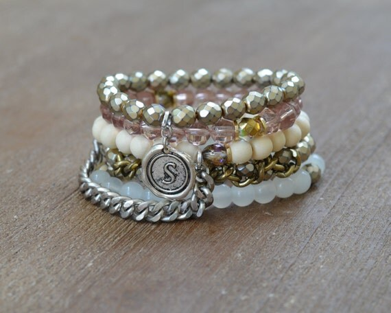 The Lala Stack - Beaded Stretch Bracelet Stack - Silver and Gold Bracelet Stack -  Wood Bead Bracelet Set - Arm Candy Charm Bracelet