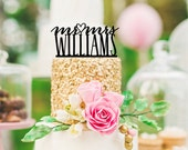 Wedding Cake Topper Monogram Mr and Mrs Topper with Heart Design and YOUR Last Name