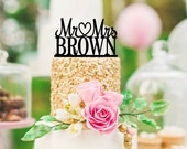 Mr and Mrs Wedding Cake Topper Heart Design with YOUR Last Name - 0004