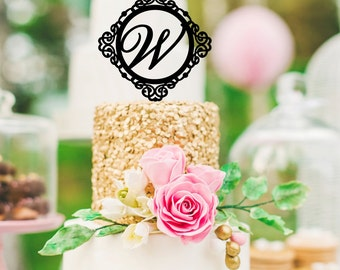 Monogram Wedding Cake Topper Ornate Design Personalized with YOUR Initial - 5.5 Inch - Item# 0125