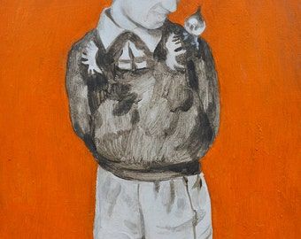 The Boy and the Bird Original Painting on Canvas Graphic Art Artwork Illustrationl Contemporary  Photo
