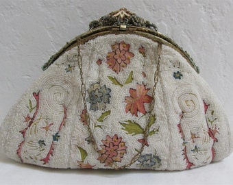 1900's Vintage Art Nouveau White Beaded Handbag With Embroidered Flowers And Exquisite Brocaded Top Closure