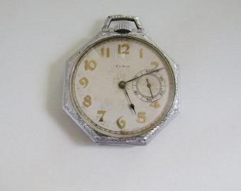 1918 Rare Elgin Hexagon case Size 12 Pocket Watch runs, keeps accurate time