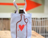 Growler Love Bag, Screen Printed Grey Canvas Tote, Heart and Arrow, Beer Lover Gift, Valentine's Day Gift