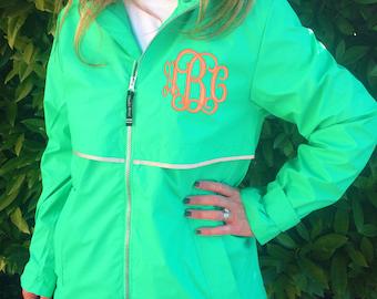 Monogram MINT Colored Rain Jacket  Font Shown INTERLOCKING in Coral