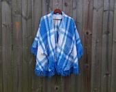 S M L XL Vintage White Blue Plaid Fringe Groovy Hippie Festival Boho Poncho Cape Sweater Fall Autumn Warm