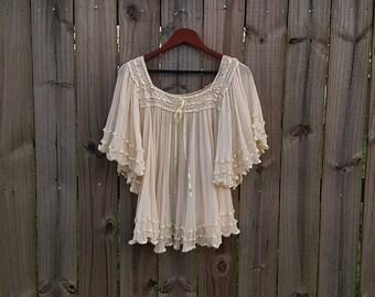 S M L Small Medium Large Vintage 60s 70s Angel Sleeves Bell Sleeve Sheer Pleated Cotton Gauze Ribbon Hippie Festival Boho Shirt Blouse