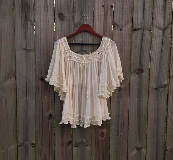 S M L Small Medium Large Vintage 60s 70s Angel Sleeves Bell Sleeve Sheer Pleated Cotton Gauze Ribbon Hippie Festival Boho Shirt Blouse