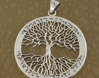 Sterling Silver Celtic Tree of Life Pendant Theban Script Wiccan Pagan Occult