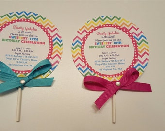 Lollipop Invitations, Candyland Lollipop Invitations, Candyland Birthday Party -Set of 12