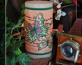 Beautiful Parisian Butterflies Embroidered Candle Wrap For LED Flameless Pillar Candles.