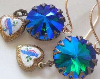 Swarovski Crystal Emerald Glacier Blue Rivoli Earrings Guilloche Enamel Heart Blue Bird Bluebird Robin Antiqued Brass Earrings Jewelry