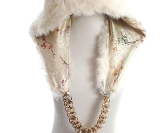 Upcycled Real Rabbit Fur Sequins Chain Hippy Boho Bohemian Rave Burning Man Dread Head Hood