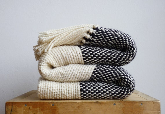 chunky knit blanket boho bedding wool woven throw blanket. Black Bedroom Furniture Sets. Home Design Ideas