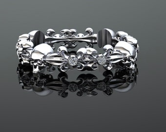4mm Wide Brushed Skull Band with Diamond Accents