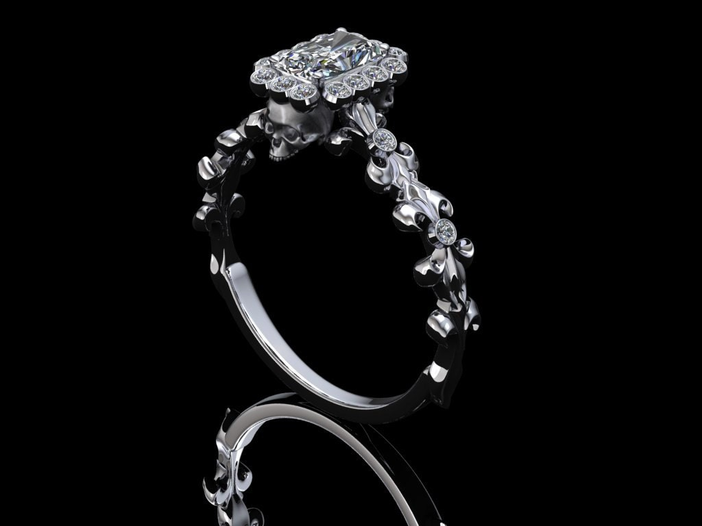 radiant cut diamond skull wedding ring Brushed Skull and Fleur de Lis Engagement Ring with Half Carat Radiant Cut Diamond