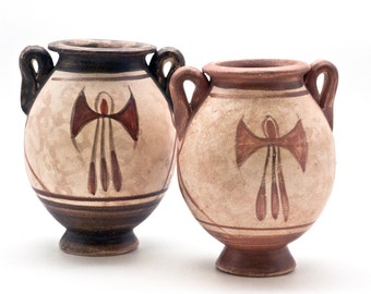 Terra Cotta Pots Ancient Greek Small Vessels, 2Pcs Minoan Vase with Double Axe and Handles, Museum Replica, Instant Ancient Greek Collection